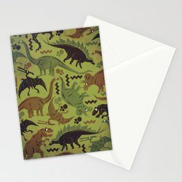 Camouflage Dinosaur Geometric Pattern Stationery Cards