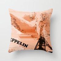 led zeppelin Throw Pillows featuring Zeppelin by Avigur