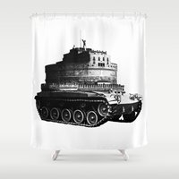kafka Shower Curtains featuring Kafka Tank by paragraph