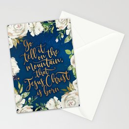 Go tell it on the mountain floral christmas Stationery Cards