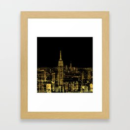 Abstract Gold City  Skyline Design Framed Art Print