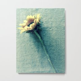 Sunflower on Denim Blue Metal Print