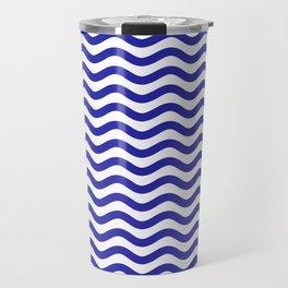 Waves (Navy & White Pattern) Travel Mug