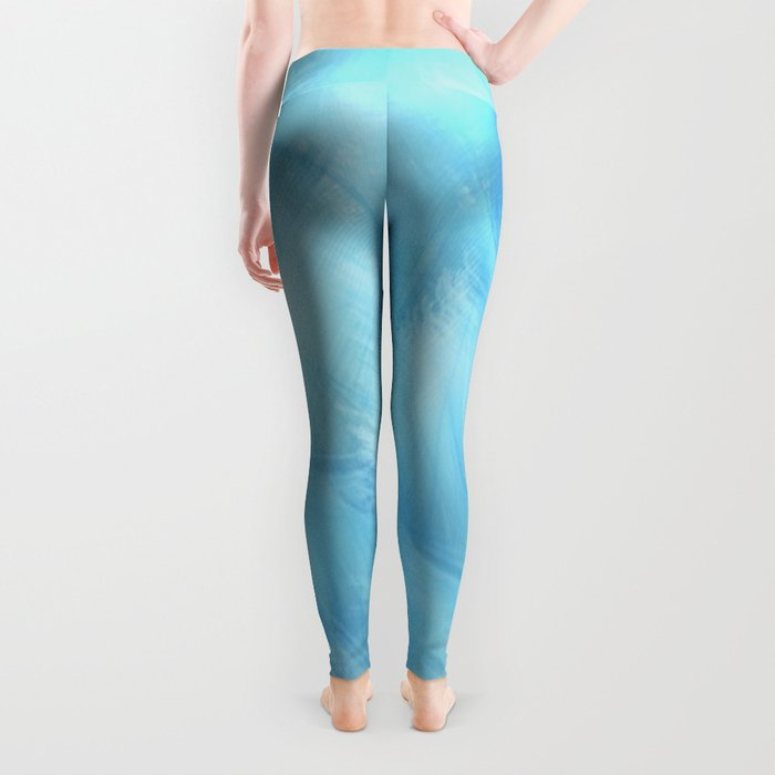 Heavenly Blue Feathers and Fluff Abstract Leggings