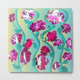 Flowering Vines In Shades Of Pink And Red Metal Print