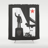 1975 Shower Curtains featuring Neto 11Nov 1975 Black by O ilusionista