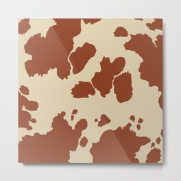 Boho Cow Pattern Metal Print