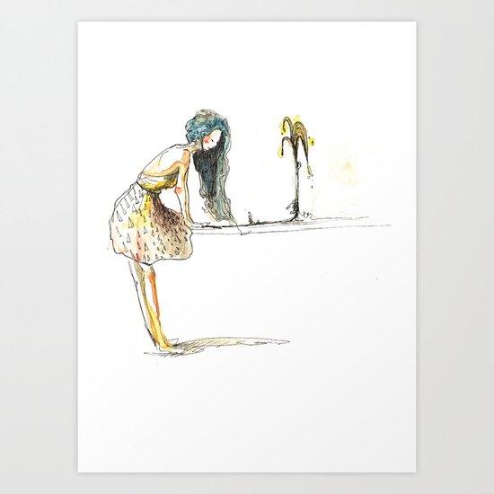 Blue hair  Art Print