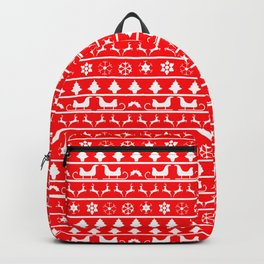Red & White Ugly Sweater Nordic Christmas Knit Pattern Backpack