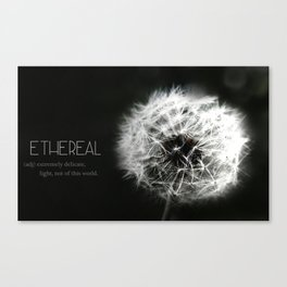 Ethereal Black and white dandelion photograph Macro photography, monotone, Typography, Minimal art Canvas Print