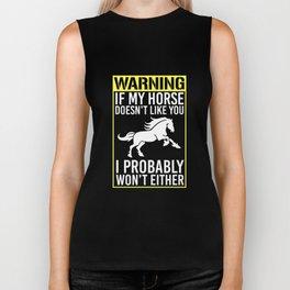 If My Horse Doesn't Like You T-Shirt Pony Farm Animals Biker Tank