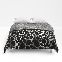 Animal Print Leopard Silver and Black Comforters