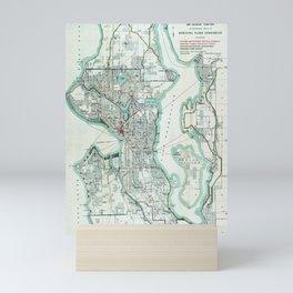 Vintage Topographical Map Seattle Washington Mini Art Print