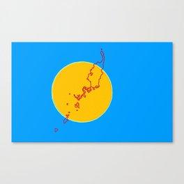Palau Flag with Palauan Map Canvas Print