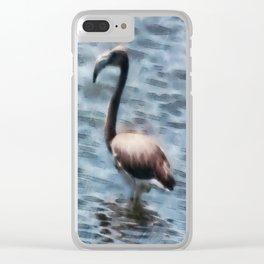 Flamingo Fledgling Watercolor Clear iPhone Case