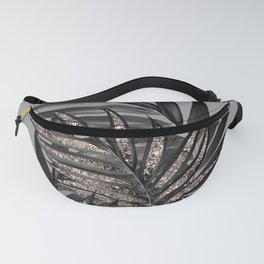 Gray Black Palm Leaves with Rose Gold Glitter #1 #tropical #decor #art #society6 Fanny Pack