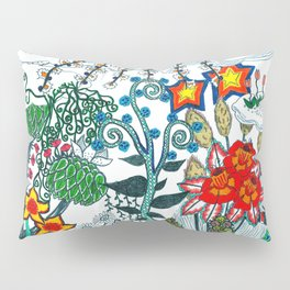 Moon and Flowers Abstract Pillow Sham