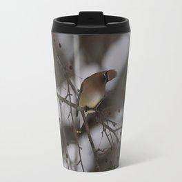 Cedar Waxwing, head titled Travel Mug