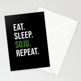 Eat Sleep Soju Repeat Korean Drink Stationery Cards