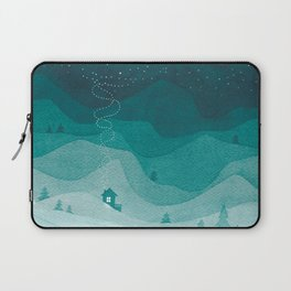Stars factory, teal mountains house watercolor landscape Laptop Sleeve