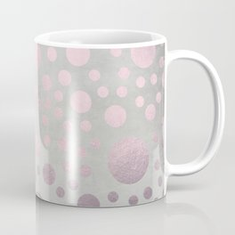 Pale Pink Golden Dots Pattern on Old Metal Texture Coffee Mug