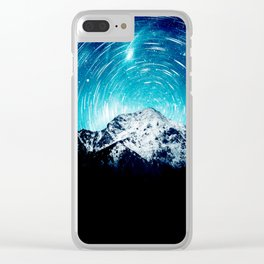 Between the galaxy and the mountain Clear iPhone Case