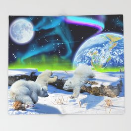Joyful - Polar Bear Cubs and Planet Earth Throw Blanket