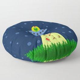 Alien abduction of Santa Claus (sweater) Floor Pillow