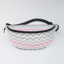 Grey Gray Pink Ombre Chevron Fanny Pack