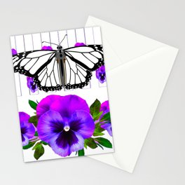 WHITE MONARCH BUTTERFLY & PURPLE PANSIES Stationery Cards