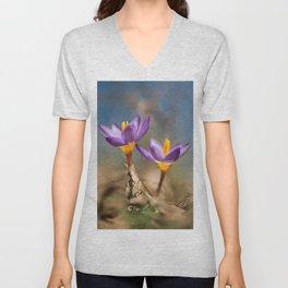 Violet crocuses Unisex V-Neck