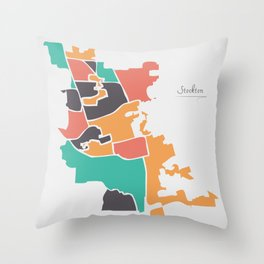 Stockton California Map with neighborhoods and modern round shapes Throw Pillow