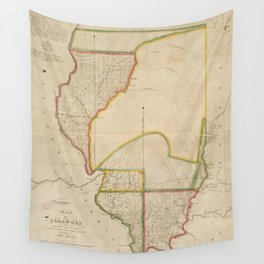 Vintage Map of Illinois (1818) Wall Tapestry