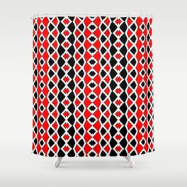 Red Black and White Pattern Shower Curtain