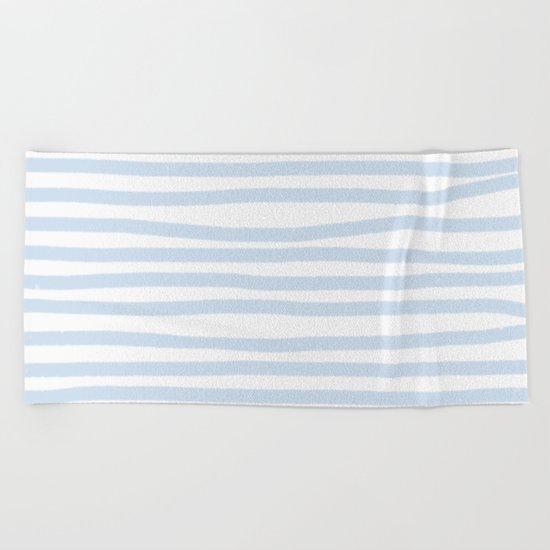 Light Blue Stripes Horizontal Beach Towel
