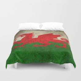 Old and Worn Distressed Vintage Flag of Wales Duvet Cover