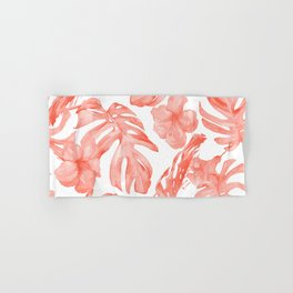 Tropical Hibiscus and Palm Leaves Dark Coral White Hand & Bath Towel