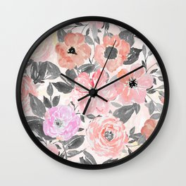 Elegant simple watercolor floral Wall Clock