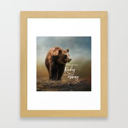 Grizzly On The Rocks Framed Art Print