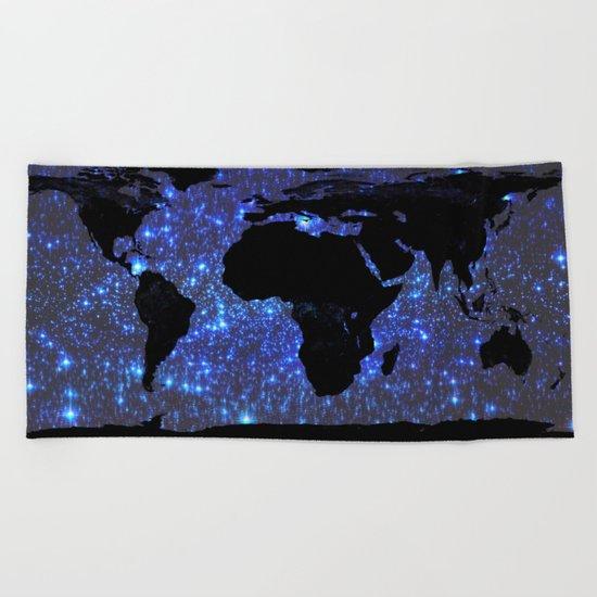 World Map : Blue Galaxy Stars Beach Towel