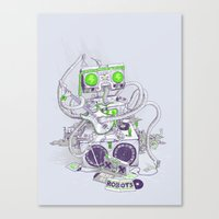hippy Canvas Prints featuring Hippy robot by Mathijs Vissers