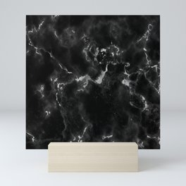 Elegant black silver stylish abstract marble Mini Art Print