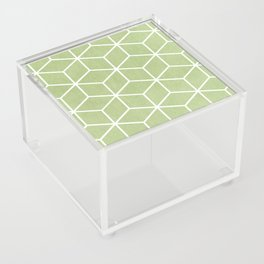 Lime Green and White - Geometric Textured Cube Design Acrylic Box