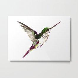 Hummingbird Green Bird artwork, minimalist bird painting Metal Print