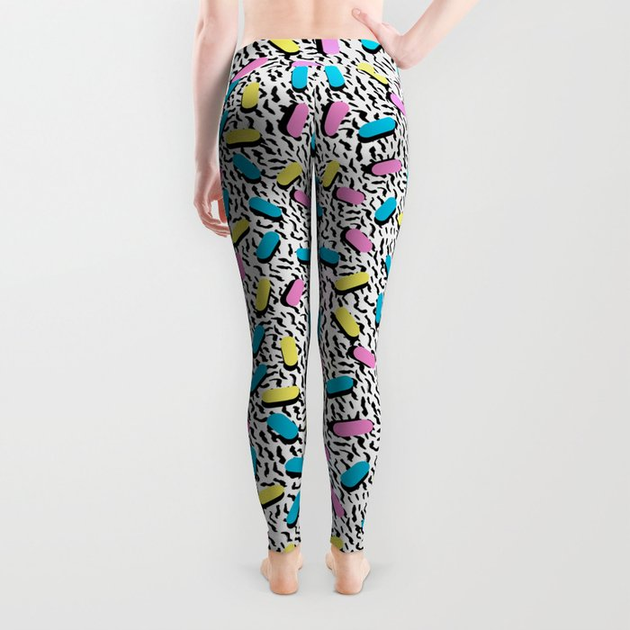 Poppin - memphis throwback retro 1980s 80s style classic trendy hipster pattern bright neon dorm  Leggings