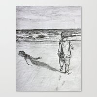 toddler Canvas Prints featuring Toddler on the Beach Drawing by DonnaBellas