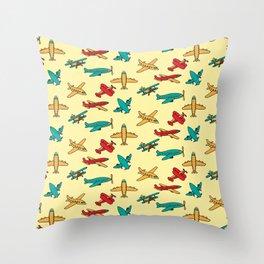 Airplanes - Yellow Throw Pillow