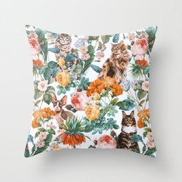 Cat and Floral Pattern III Throw Pillow
