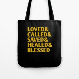 Christian Words Black Typography Quote Tote Bag