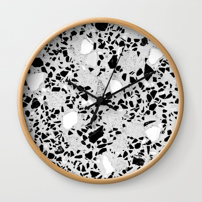 Real Terrazzo Stone Marble Concrete Mix Pattern Wall Clock